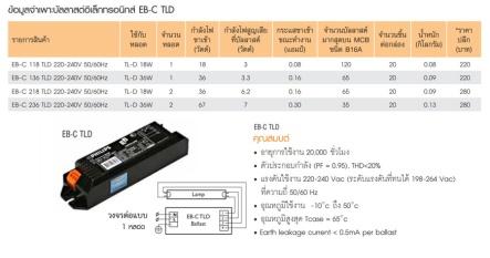 สเป็คบัลลาสต์อิเล็กทรอนิกส์ philips EB-C LTD power factor =0.95