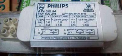 ป้ายไฟฟ้าบน บัลลาสต์ philips BTA 36L04